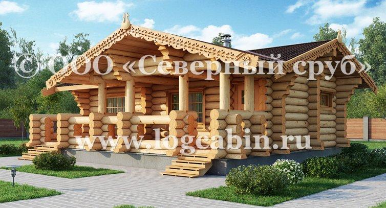 Проект деревянной бани F-07